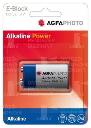 Alkáli elem 9V, AgfaPhoto, 1/1 db