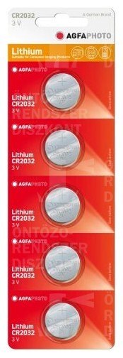 Lítium gombelem CR2032 3V, AgfaPhoto, 5/1 db